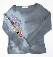 TWIN SET Simona Barbieri Pullover Damen Gr.L blau bestickt Rundhals Fein -RP304
