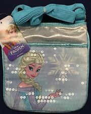 "Disney Frozen Elsa Sequin Sparkle Purse Adjustable Strap 7 1/2"" x 7 1/2"" Handbag"