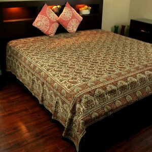 Hand Block Print Floral Tapestry Paisley Elephant Cotton Bedspread Beige Black