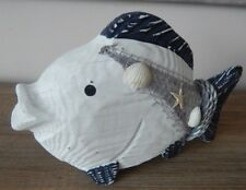WOODEN CARVED FISH NAUTICAL ORNAMENT DECORATIVE SEA LIFE
