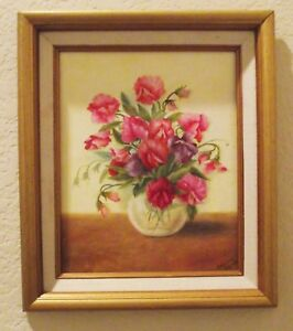 LENORE GARNER FLOWERS OIL PAINTING CANVAS HAND SIGNED GOLD FRAME 13 in X 10.5 in