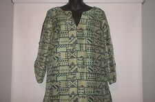 TIBI  Geometric Print SILK Tunic Top Blouse Size 6 Cut Out Sleeves