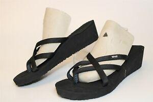 Teva NEW Womens 8 39 Voya Infinity Black Sandals Thongs Heels Shoes