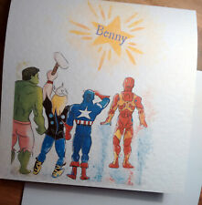 Hand drawn. Honouring Benny. Marvel heroes card. Children's charity listing.