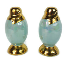Vintage Rare  Lusterware Turquoise and Gold Salt and Pepper Pearl China Elegant