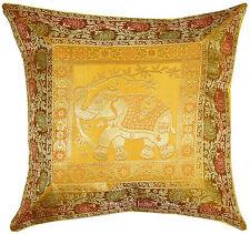 "Gold 17"" Elephant Silk Brocade Pillow Cushion Cover Throw Handmade Indian Decor"