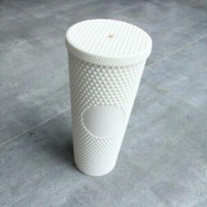 Starbucks Christmas Diamond Matte White Studded Tumbler 2021 Glass Straw Cup USA