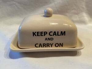 The Old Pottery Co Butter Dish Keep Calm and Carry On