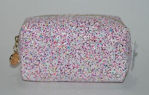 BATH & BODY WORKS PINK GOLD GLITTER MAKEUP BEAUTY BAG COSMETIC COIN PURSE CLUTCH