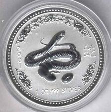 Australia 2001 1 dolar 1 onza plata pura Calendario asiatico Año del Serpiente