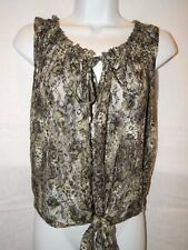 Bongo Tank Top M Semi Sheer Lace Green Floral Sleeveless Tie Front Shirt MT20