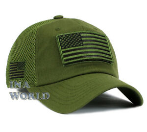 USA Flag Hat Detachable Patch Tactical Operator Micro Mesh Military Baseball Cap