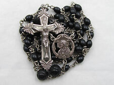 """† VINTAGE STERLING VATCIAN PILIGRAMAGE DOUBLE RING CAPPED ROSARY 30"""" NECKLACE †"""