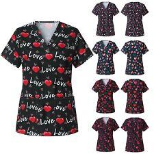 Womens Nursing Scrub Tops Medical Uniform Valentine's Day Love Print Shirt