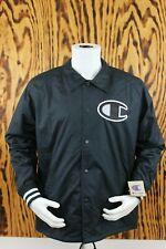 Champion Men's Large Jacket Satin Coaches Big C Logo Snap Button Drawstring Hem