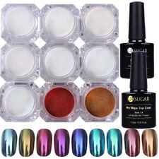 11Pcs Nail Glitter Mirror Powder Chrome Pigment Topcoat Base Coat Gel Polish Kit
