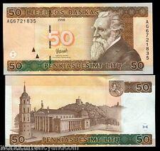 LITHUANIA 50 LITU P61 1998 EURO CATHEDRAL HORSE UNC MONEY BILL EUROPEAN BANKNOTE
