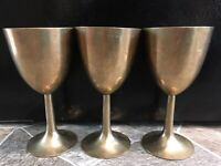 "3 Brass Gold WINE CUPS WATER GOBLETS CHALICE Korea 6 1/8"" Vintage NOT MAGNETIC"