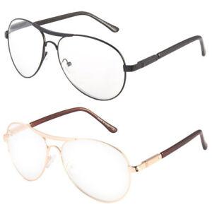 Premium Metal Clear Aviator Reading Glasses Spring Hinge Powers 1.50 Up Readers