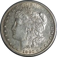 1880-S $1 MORGAN SILVER DOLLAR  XF/AU DETAILS  CLEANED / CULL COND.  041421014