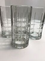 "Anchor Hocking Tartan Tumblers High Ball Ice Tea Glasses 6 1/8"" Tall Set of 4"