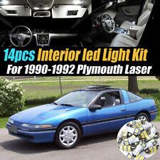14Pc Car Interior Led Super White Light Bulb Kit for 1990-1992 Plymouth Laser
