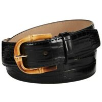 Steve Madden Croc Embossed Faux Leather Belt Black Medium $38 NWT