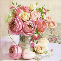 4x Paper Napkins -Roses in Pot Vintage- for Party, Decoupage Craft