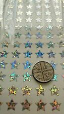 Silver Stars - Glitter Holographic Sparkle Waterproof Stickers Peel Offs 10 mm