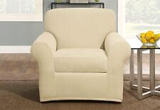 Sure Fit Chair Slipcover Stretch Pinstripe Box Style Separate Seat Cream 2 Piece