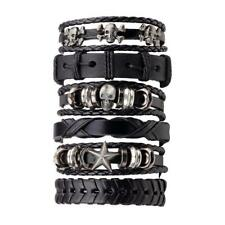 6PCS/SET Black Multilayer Men PU Leather Braided Skull Decoration Bracelet GA
