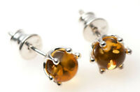 CERTIFIED LEMON BALTIC AMBER & 925 STERLING SILVER STUDS EARRINGS REGAL VINTAGE