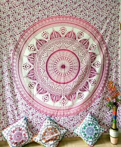 Ombre Mandala Queen Tapestry Thin White Pink Color Bedcover Ethnic Cotton Fabric