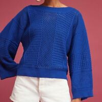 Anthropologie Moth Reese Sweater Royal Blue Open Knit Crew Meck Long Sleeve XS