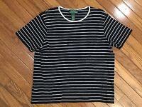 Lauren Ralph Lauren Women's Black & White Striped Knit Top Blouse Size L