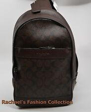 NWT COACH Men's CAMPUS PACK SLING BAG BACKPACK F72043 Mahogany/Brown