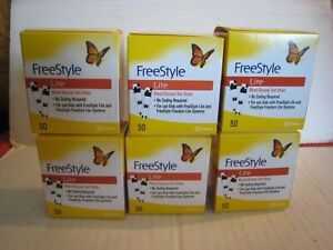 6 Boxes New Freestyle Lite Blood Glucose Diabetic Test Strips; 50 Per Box; 300