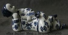 "8"" Collect Folk China Blue White Porcelain Smoke Opium Pipe Sleep Women Statue"