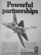 3/1982 PUB ROLLS-ROYCE MTU FIAT RB199 ENGINE PANAVIA TORNADO ORIGINAL AD