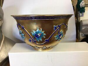 "5"" Curio China 925 Silver 24K Gilt Gold Dynasty Palace Flower Han Ear Bowl"