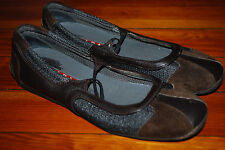 Women's Prada Gold/Brown Mary Jane Leather & Suede Ballet Flats (38)
