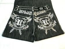 Direct Blue 34x32 Black Jeans Urban Culture Embroidered Rhinestones Relax Fit