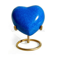 Brass Made Heart Urn for Keepsake Cremation Ashes (Deep Blue)