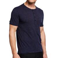 John Varvatos Star USA Men's Short Sleeve Splatter Print Henley Shirt Deep Blue
