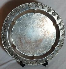 Beautiful Vintage Heavy and Large Silver Plated on Copper Tray. Diameter 40 cm