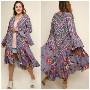 Boho Floral Patchwork Kimono Sz XL (11/12) PLUS Womans NWT WG1837W