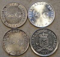 Netherland Antilles 1/10 Gulden 1954,63,65 Fish + Star, + 70 XF-BU As Pictured