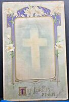 Easter Greeting Cross 1912 Antique Postcard
