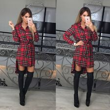 Womens Check Shirt Mini Dress Ladies Long Sleeve Plaid Romper Dress Size6-14 TG