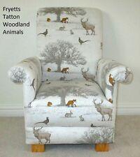 Fryetts Tatton Woodland Animals Fabric Kids Chair Deer Foxes Beige Nursery Cream